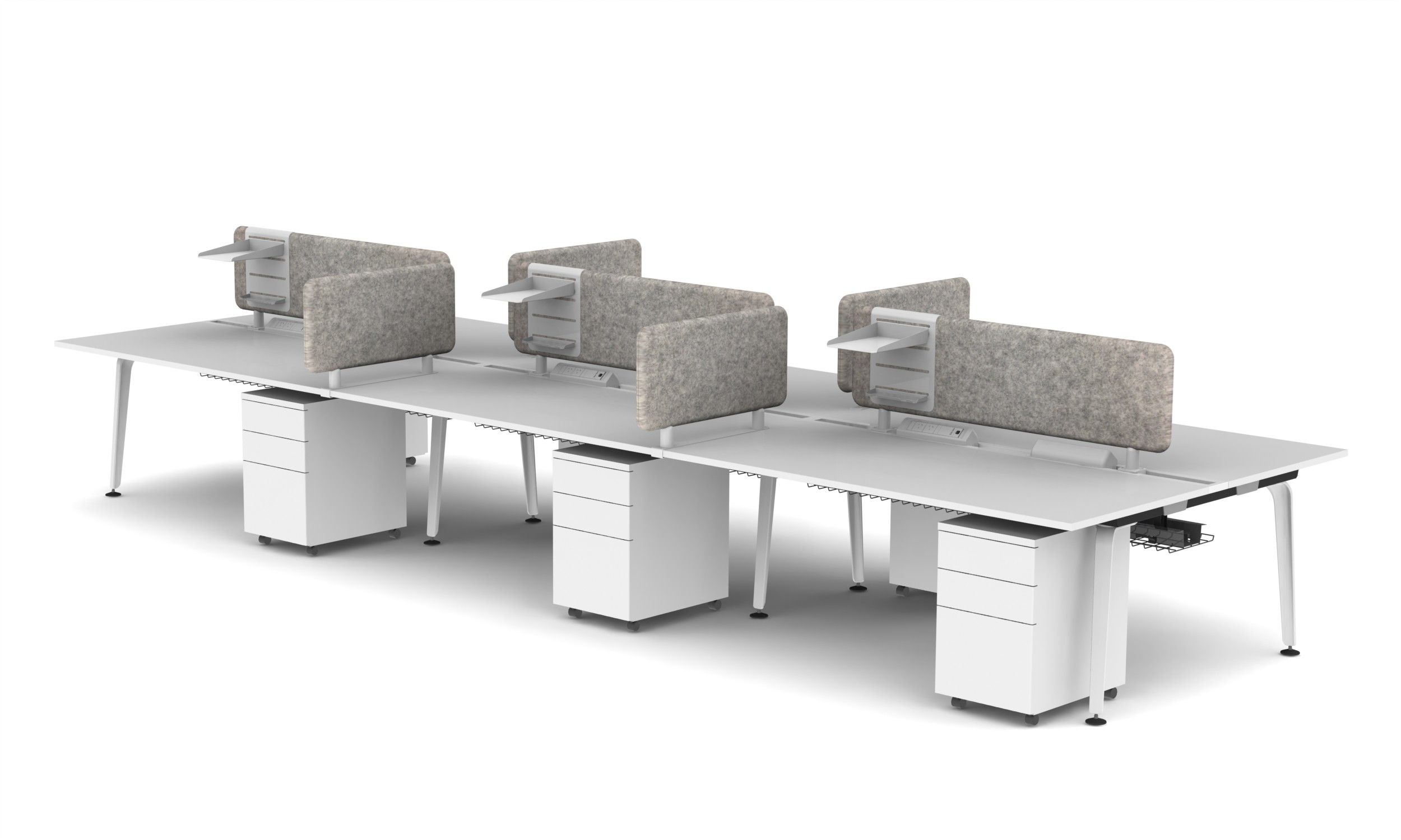 Moment 6 PAX B2B Workstation - Pearl White, Screens, Interpersonal screens and Accessory Trays