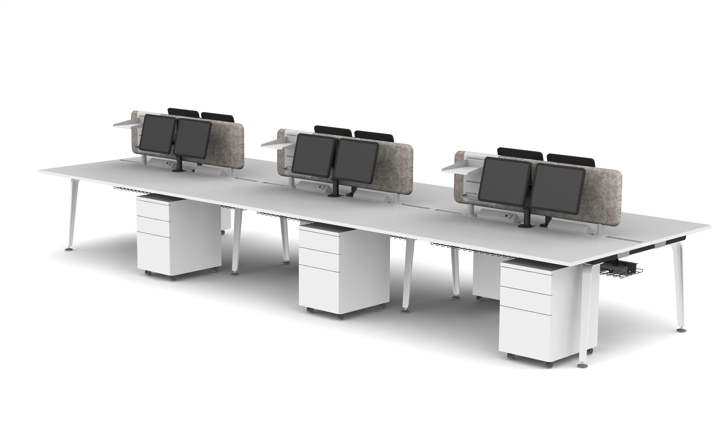 Moment 6 PAX B2B Workstation - Pearl White, Screens, Monitor Arms and Accessory Trays